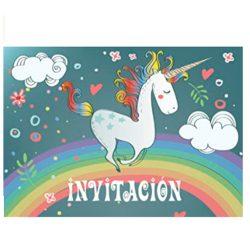 Tarjeta de invitaciones de unicornio en español 10 invitaciones tiernamente ilustradas