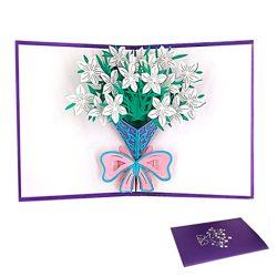 Tarjetas de cumpleaños 3d con sobre diseño lirio blanco ideal para la familia, novia, jefa, etc.
