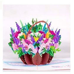 Tarjetas de cumpleaños con flores de feliz cumple cesta de flores variadas en 3D