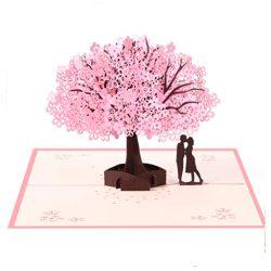 Tarjetas de cumpleaños de amor en pop up 3D pareja romantica en arbol rosa