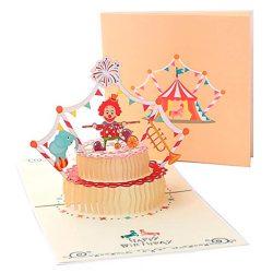 Tarjetas de cumpleaños en 3D para niños, familiares, amigos diseño original de payaso circo