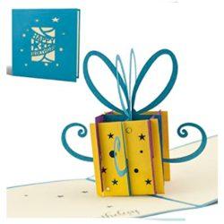 Tarjeta de cumpleaños en 3D de felicitación hecho a mano con diseño de regalo pequeño