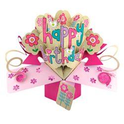 Tarjeta de cumpleaños especial de felicitación flores que se abren diseño en 3D con texto