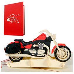 Tarjetas de cumpleaños hombre adolecente niño felicitacion con moto desplegable 3d