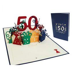 Tarjetas de cumpleaños hombre y mujer felicitación por 50 años familiar en 3D