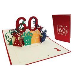 Tarjetas de cumpleaños hombre y mujer felicitación por 60 años familiar en 3D