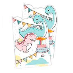 Tarjeta de cumpleaños infantiles (2 unidades) con dino/dragón para niños divertida