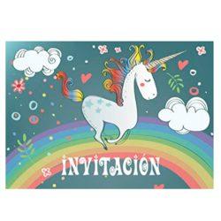 """10 Invitaciones de """"Unicornio""""Juego de cumpleaños tiernamente ilustradas con Unicornios"""