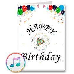 Tarjeta de cumpleaños musicales con USB y 128 MB de memoria, mensajes de voz propios y música