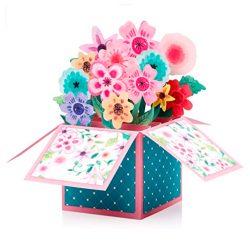 Tarjetas de cumpleaños para mujeres felicitación con diseño floral 3D hecha a mano 17 x 16 cm