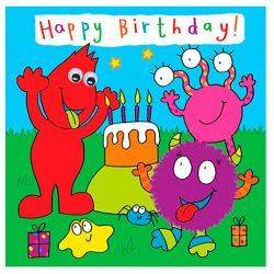 Tarjeta de cumpleaños felicitación de niños con fiesta de monstruos ojos acabados a mano