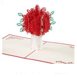 Tarjetas de cumpleaños y amor felicitación Flor Rosa 3D Pop Up con Sobre para el amorcito